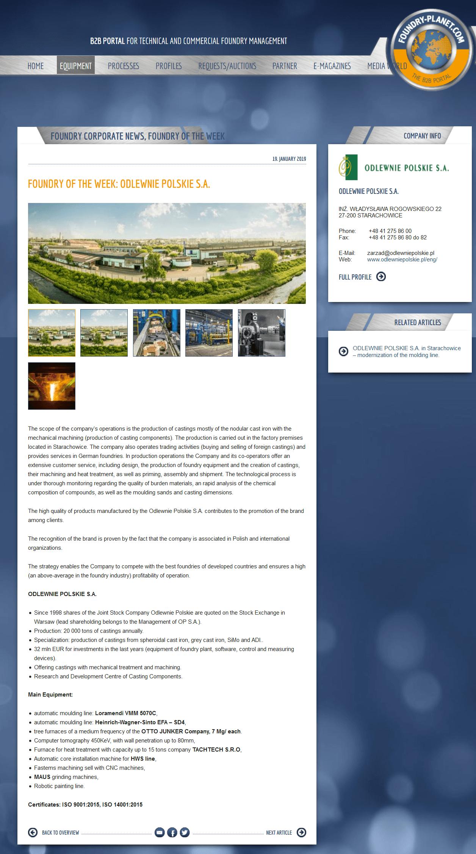Foundry Planet - Odlewnie Polskie S.A. as Pundry of a week